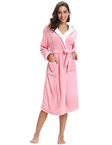 Avec Peignoir Flanelle Poches Hiver De Aibrou Bain Nuit Polaire Pink 2 Capuche Femme Robe Long À AXxA5Tw1q