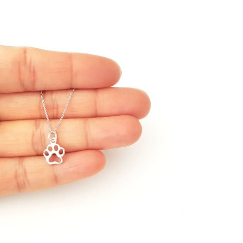 Sterling Silver Tiny Openwork Paw Print Charm Necklace 16