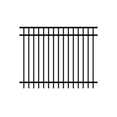 Allure Aluminum Cosmopolitan 5 ft. x 6 ft. Black Aluminum 3-Rail Unassembled Fence Panel