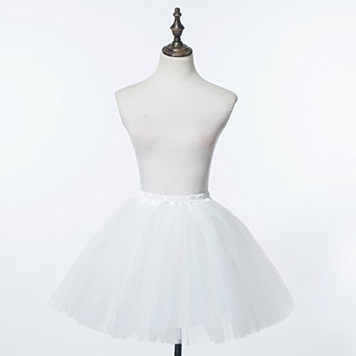 perfectday Mini tutú enaguas multicapa de volantes Frilly de ballet falda de la mujer blanco