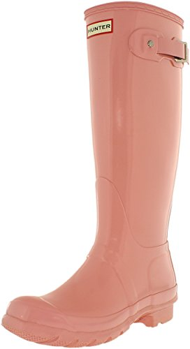 Hunter Damen Original Tall Regen Boot, Schwarz Glanz, 8 B (M) US Rosa Sand