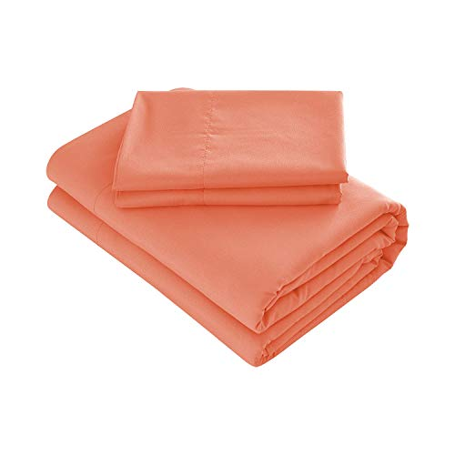 Prime Bedding Bed Sheets - 3 Piece Twin Sheets, Deep Pocket Fitted Sheet, Flat Sheet, Pillow Case - Coral