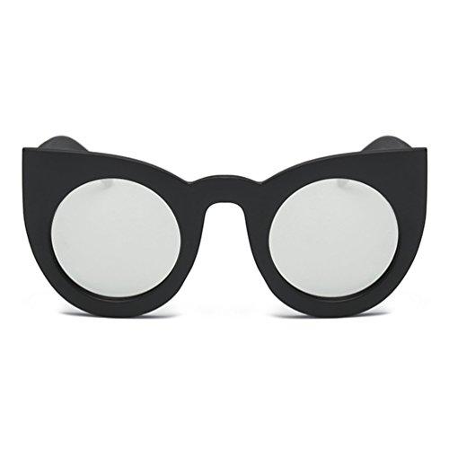 Armear Oversized Cateye Sunglasses for Women Retro Circle Lenses Thick Frame (Black,silver lens, - Sunglasses Circle 90s