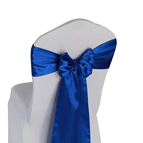 (Royal Blue Satin Chair Sashes Ties - 50 pcs Wedding Banquet Party Event Decoration Chair Bows (Royal Blue, 50))