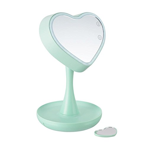 Price comparison product image Led makeup mirror lights, Heart shape touch control 1 3X magnifying 7 Colors Lighted vanity mirror cosmetic table mirror-green