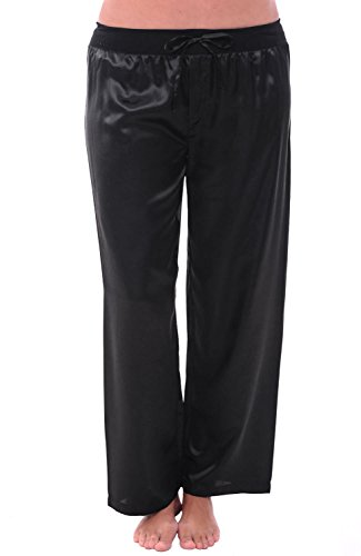 (Alexander Del Rossa Womens Satin Pajama Pants, Silky Pj Bottoms, XL Black (A0751BLKXL))