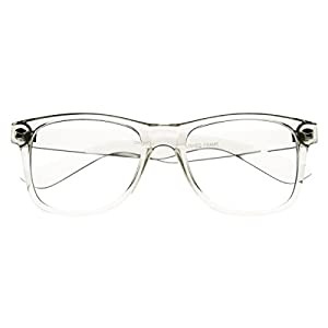 RETRO Transparent 80s Crystal Men Women Trendy Frame Clear Lens Eye Glasses