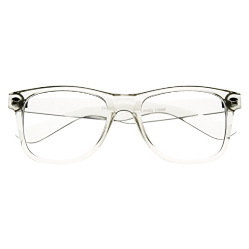 RETRO Transparent 80s Crystal Men Women Trendy Frame Clear Lens Eye - Plastic Clear Eyeglasses Frame