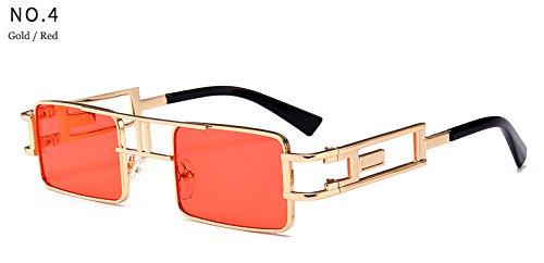 del Soleil marca sol la de punk UV rojo Cuadrado hombres dise la ador Protecci¨®n metal de sol Hykis de del luneta Gafas marco vapor vendimia con manera De 1FB1x