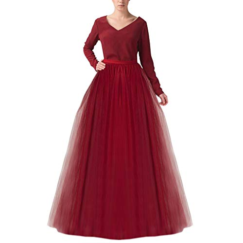 (Wedding Planning Women's Long Tutu Tulle Skirt A Line Floor Length Skirts Large Burgundy )