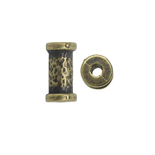 TierraCast Spacer Bead, Hammered Tube 5.5x10.8mm. 2 Pieces, Brass Oxide Finish