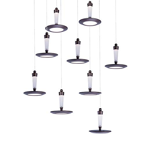 ET2 E21169-01BZ Hilite 9-Light LED Multi-Light Pendant, Bronze Finish, White Glass, LED Bulb, 35W Max., Dry Safety Rated, 2900K Color Temp., Low-Voltage Electronic Dimmer, Glass Shade Material, 4160 Rated Lumens