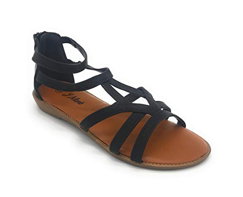 EASY21 Fashion Women Roman Style Gladiator Sandals Ankle Strap Summer Flats Shoes (6.5 US, 08BLACK)