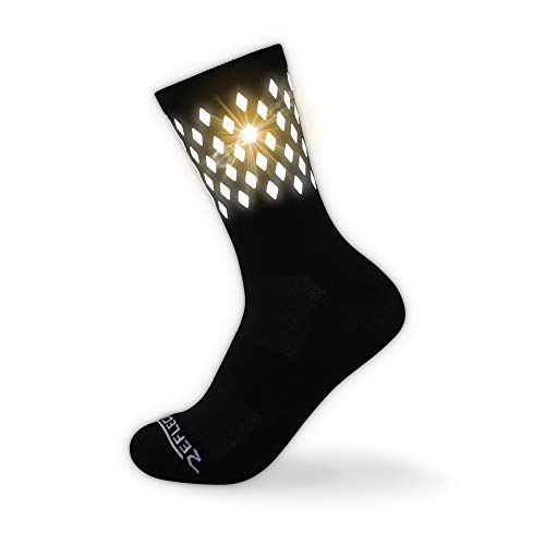 (High Reflective Cycling and Running Socks - Night Safety (M, Black) Thick-Winter Use)