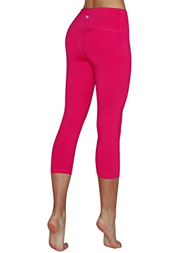 Yoga Reflex Women's High Waist Tummy Control Sports Running Yoga Capris Hidden Pocket (S-3XL) , Fuchsia , XXX-Large