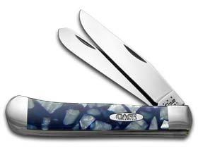 CASE XX Chipped Blue Luster and White Pearl Corelon Trapper Stainless Pocket Knife Knives