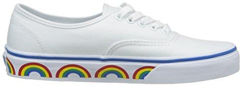 Vans VA38EMMQC Unisex Authentic (Rainbow Tape) Canvas Shoes, True White/Blue,  6.5 D(M) US Men /  8 B(M) US Women