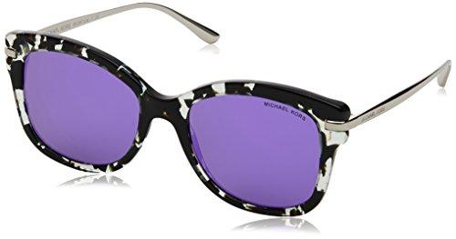Michael Kors Women's Lia MK2047 53mm Snow Leopard/Violet Mirror - Kors Michael Leopard Sunglasses