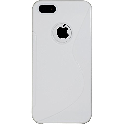 PhoneNatic Case für Apple iPhone 5 / 5s / SE Hülle Silikon weiß S-Style Logo Cover iPhone 5 / 5s / SE Tasche + 2 Schutzfolien