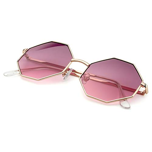 PINGLAS  Hipster Polygon Sunglasses For Women Delicate Metal Frame Candy Color UV400 Lens, Medium , Gradient Purple ()
