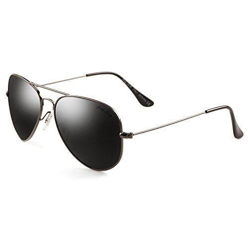 (GREY JACK Polarized Classic Aviator Sunglasses Military Style for Men Women Grey Frame Black Lens Large )