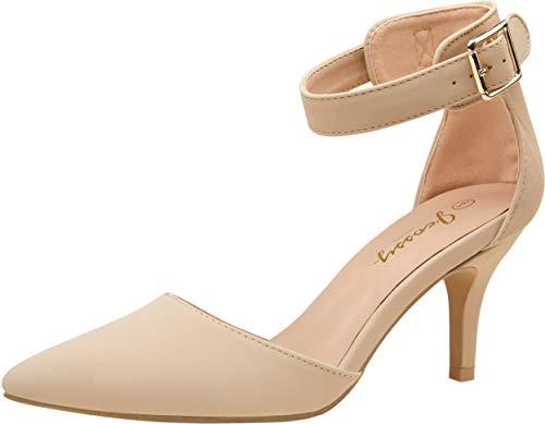 VEPOSE Women's Pumps IN3 Kitten Heels Ankle Strap Nude Nubuck Low Heel Pointed Mid Casual Dress Bridal Pump Wedding Shoes(8.5,Kitten Heels-031-Nude Nubuck)