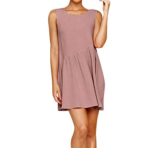 (Pinleg Mini Dress Women's Fashion Summer Casual Sleeveless in Pure Colors Summer Solid Color Mini Skirt Bohemian Above Knee Sexy Pocket Work Shopping Trip Photography)