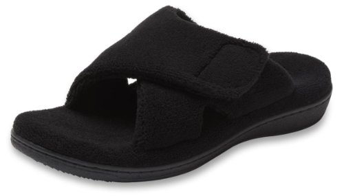 ORTHAHEEL Women's Relax Slipper, Black Terry, 8.0 - Orthaheel Womens