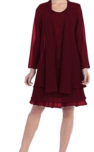 Kleid Jacke Burgund HWAN Kirche ht Hand formales Mutter Kleid der Braut Abend mit Gen Bolero 7qqXF6w