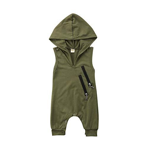 Newborn Baby Sleeveless Hoodies Toddler Boys Girls Zipper Army Green Hooded Jumpsuit Rompers (Army Green, 18-24 - Sleeveless Toddler
