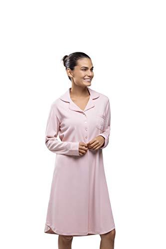 PJ.PIMA Incredibly Soft Pima Cotton Night Gown Notch Collar Classic Long Sleeve (Romantic Rose, Small Regular)