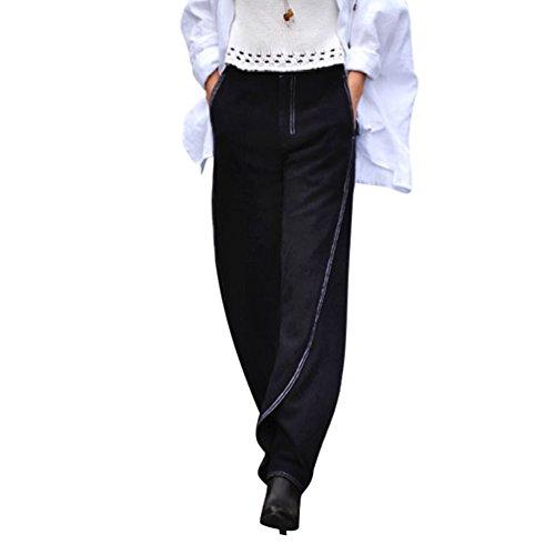 Large Femme Palazzo Et Foncé Yuandian Bouffant Casual Bleu Hiver Lin Jambe Pantalons Lanterne Automne Harem Baggy zUnwndvx
