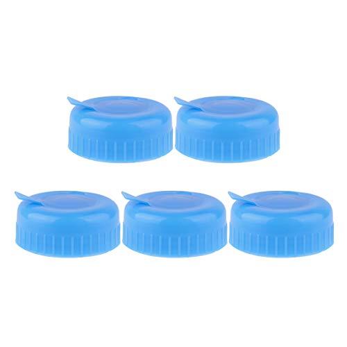 Freebily 5Pcs Blue 3 & 5 Gallon Water Bottle Screw on Cap Reusable Replacement Anti Splash Lids Blue One Size