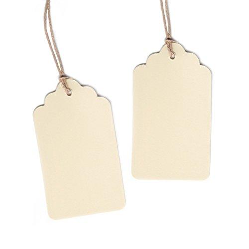 Dress My Cupcake 50-Pack Gift Hang Tag with String, Scallop Cream (Tags Hang Bridal)