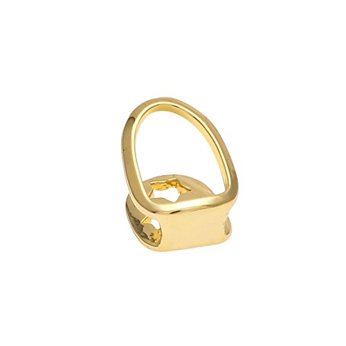 AOVR New 14k Gold Plated Hip Hop Bling Bling Teeth Fangs Grillz Caps Top & Bottom Grill Rapper Hollow Set (Gold Tooth)