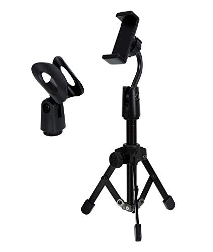 Microphone Pop Filter Studio Recording Pop Shield Mic Windscreen with Dual Screen Metal and Nylon Mesh (Mic desk stand with phone holder-black)