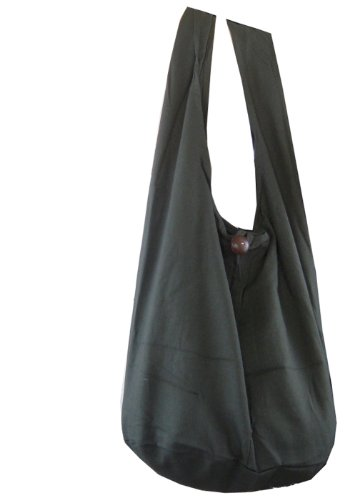BTP! Thai Monk Buddha Cotton Sling Crossbody Messenger Bag Purse Hippie Hobo Solid Large (Grey XL6)