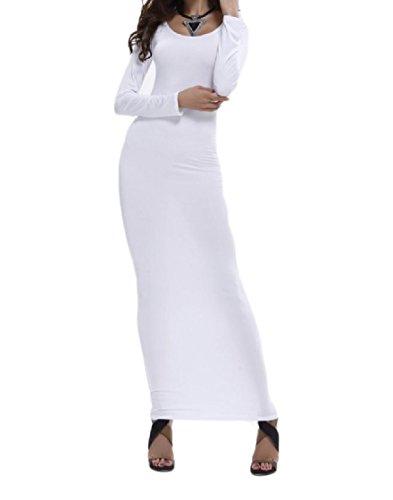 A Vestito Lunga Fasciatura Girocollo Bodycon Maniche Maxi donne Del Solido Dalla Bianca Lunghe Spiaggia Coolred ZnFRWC