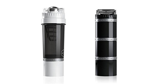 Cyclone Cup Shaker Bottle 22 oz White - Core Clik n Go Storage Capsules 6 oz and Supplement Storage Black