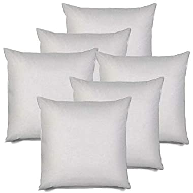 IZO All Supply Square Sham Stuffer Hypo-Allergenic Poly Pillow Form Insert, 18  L x 18  W (6 Pack)