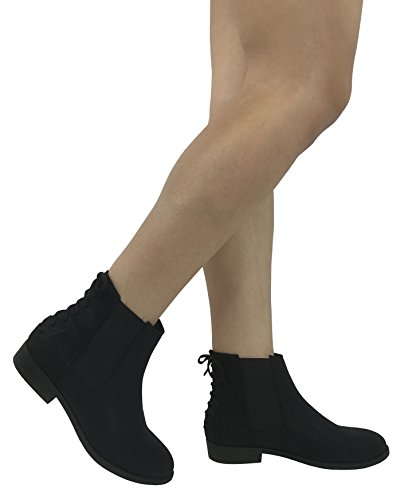 City Classified Comfort Women's Ankle Chelsie Bootie Faux Leather Round Toe Flat Block Heel - stylishcombatboots.com