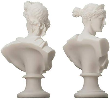 BeautifulGreekStatues Artemide Diana e Apollo Busto Statue greche Figurina di Dio Alabastro 15cm