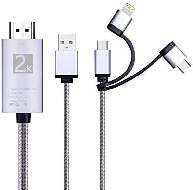 Cable Adaptador 3 en 1 HDMI, iluminación/Tipo-C/Cable Micro USB a HDMI, Espejo de Audio Digital, Pantalla de teléfono móvil a Monitor de proyector de TV para Samsung Galaxy J3 (2016) SM-J320F (Plata):