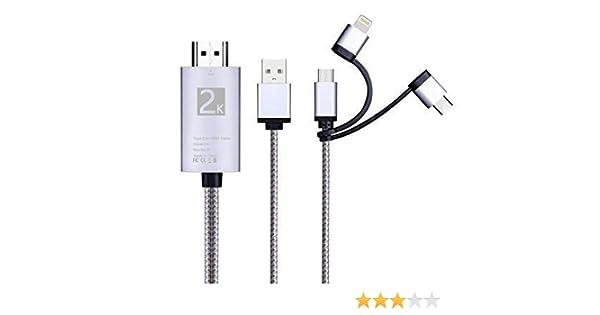 i-Tronixs Cable Adaptador 3 en 1 HDMI, iluminación/Tipo-C/Micro ...