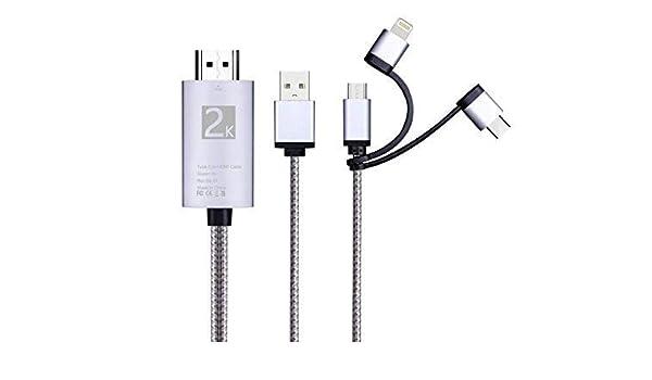 i-Tronixs Cable Adaptador 3 en 1 HDMI, iluminación/Tipo-C/Micro USB a HDMI Cable Digital Audio Espejo Teléfono Móvil Pantalla a TV Proyector Monitor para Samsung Galaxy J8 (Plata): Amazon.es: Electrónica