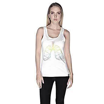 Creo Lungs Animal Tank Top For Women - S, White