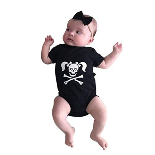 Fheaven (TM) Newbron Infants Baby Boys Girls Skull Print Romper Halloween Family Clothes Costume Outfits (Black (Girls), 3M) -