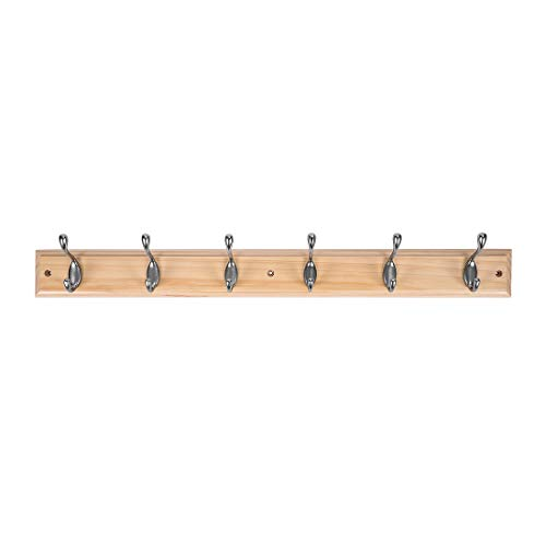 DOKEHOM DKH0116NPX2 2 Set 6-Satin Nickel Hooks -(4 Colors, Available 4 and 6 Hooks)- on Pine Wooden Board Coat Rack Hanger, Mail Box Packing by DOKEHOM (Image #8)