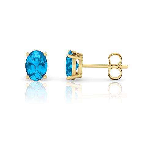 14K Yellow Gold Oval Cut Genuine Swiss Blue Topaz Stud Earrings (7x5mm)