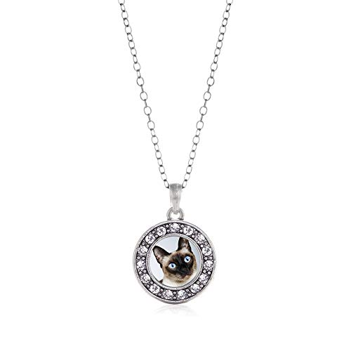 (Inspired Silver - Siamese Cat Charm Necklace for Women - Silver Circle Charm 18 Inch Necklace with Cubic Zirconia Jewelry)